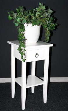 Beistelltisch 32x60x32cm, 1 Schublade, 1 Ablageboden, Pappel massiv weiß lackiert