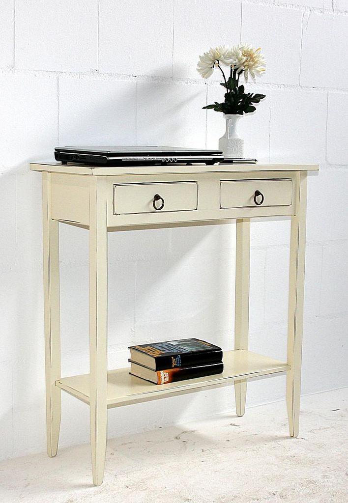 Konsolentisch Wandtisch Beistelltisch Telefontisch Holz massiv creme antik – Bild 4
