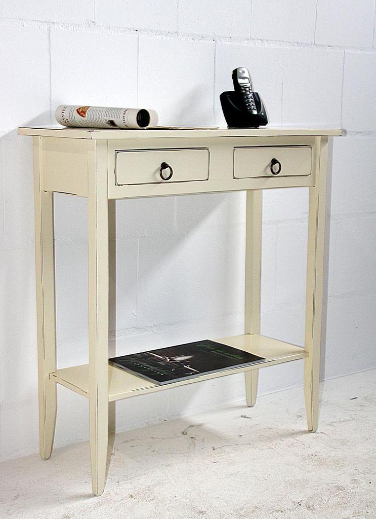konsolentisch 74x80x32cm 2 schubladen 1 ablageboden. Black Bedroom Furniture Sets. Home Design Ideas