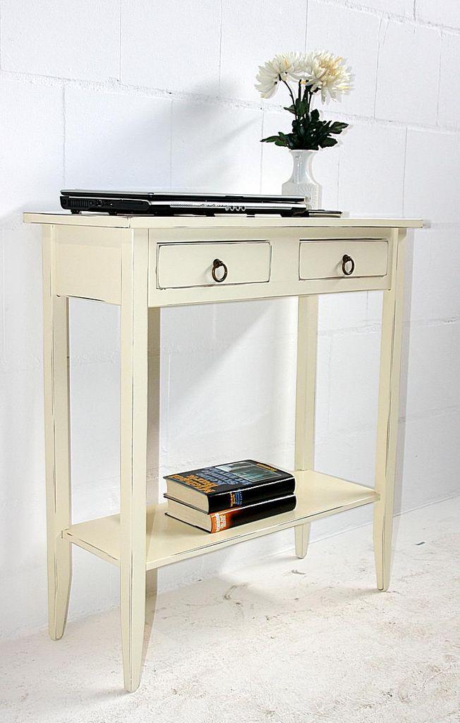 Konsolentisch Wandtisch Beistelltisch Telefontisch Holz massiv creme antik – Bild 1