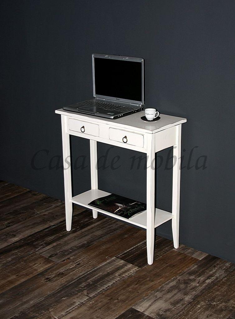 Konsolentisch Wandtisch Beistelltisch Telefontisch Holz massiv weiß antik – Bild 2
