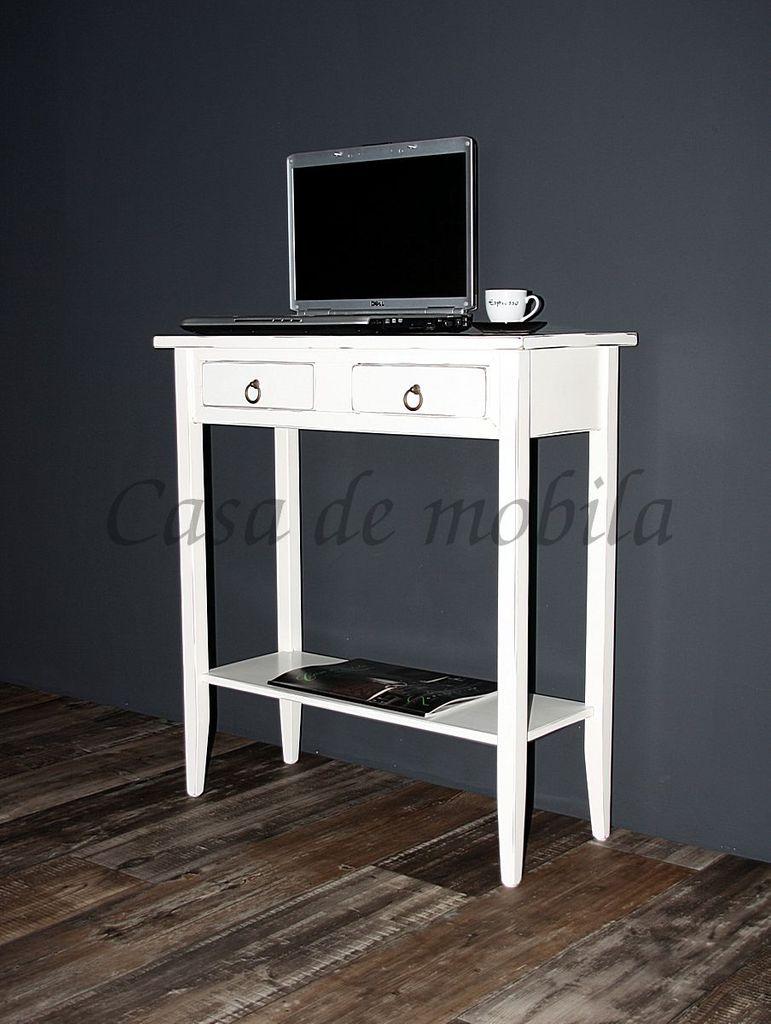 Konsolentisch Wandtisch Beistelltisch Telefontisch Holz massiv weiß antik – Bild 4