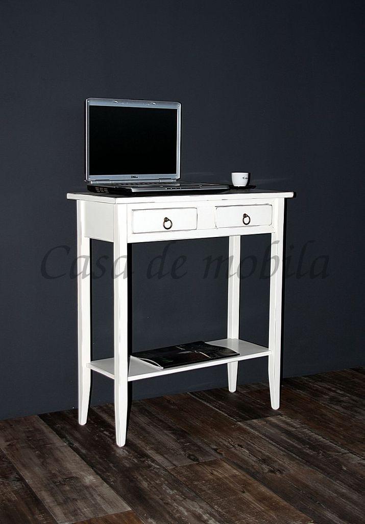 Konsolentisch Wandtisch Beistelltisch Telefontisch Holz massiv weiß antik – Bild 5
