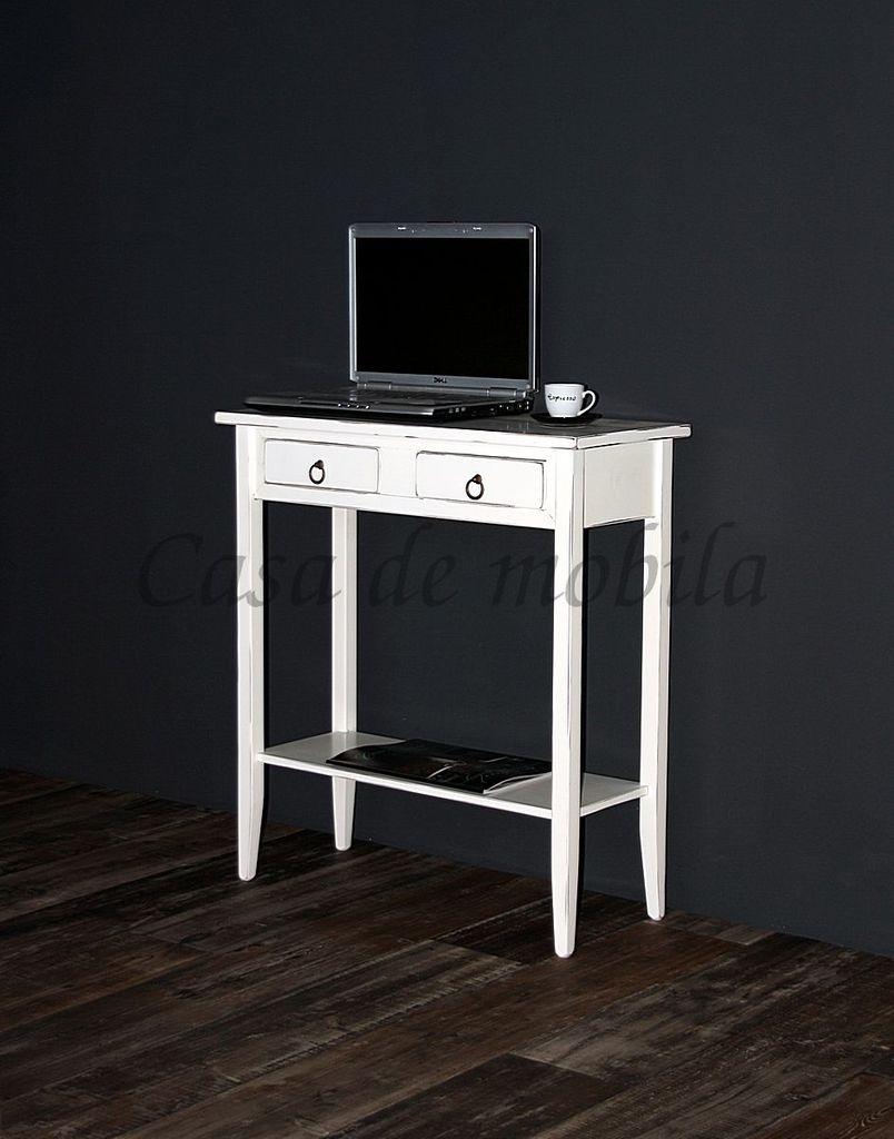 Konsolentisch Wandtisch Beistelltisch Telefontisch Holz massiv weiß antik – Bild 1