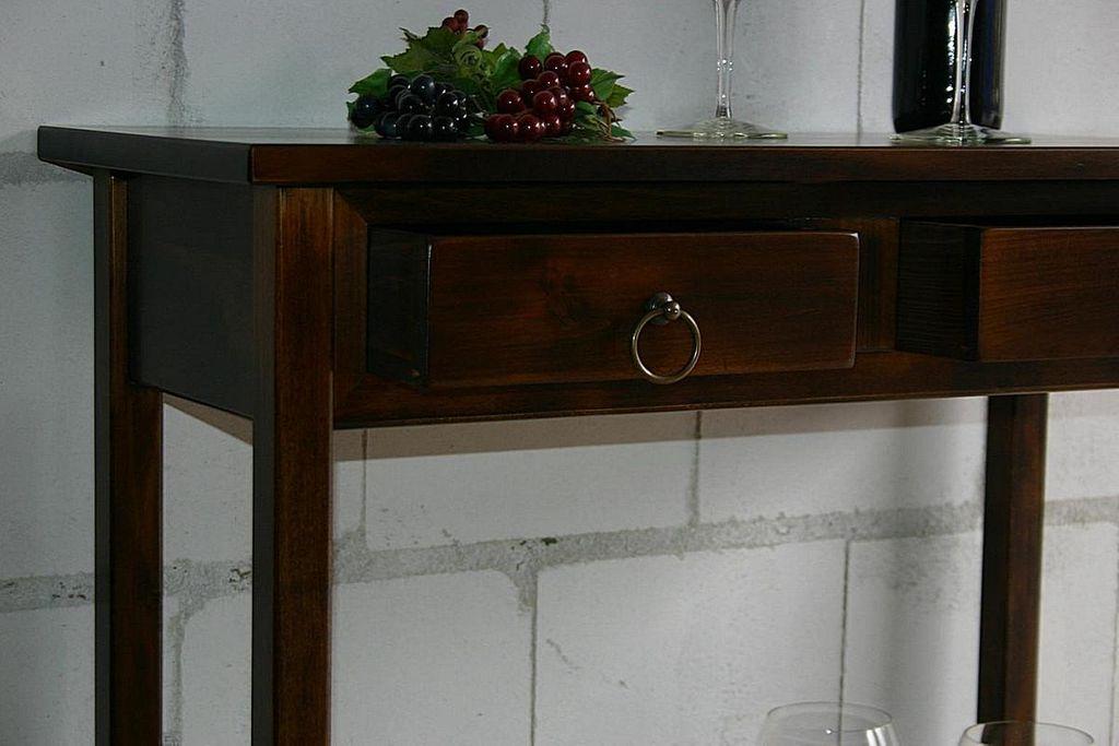 Konsolentisch Wandtisch Beistelltisch Telefontisch Vollholz massiv braun nussbaum Farbe – Bild 4
