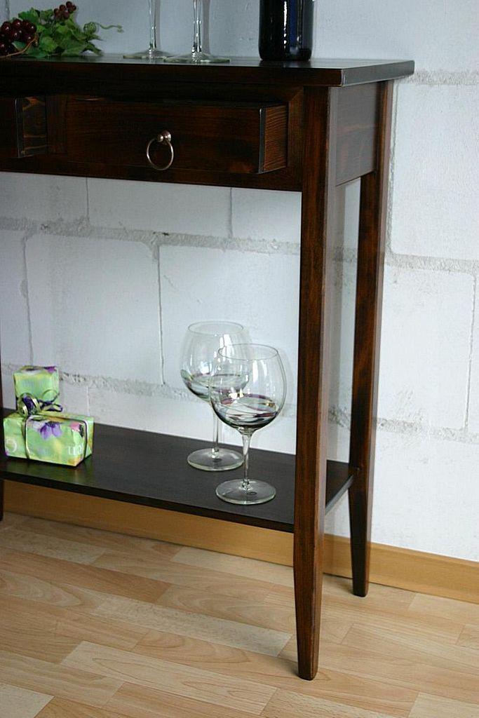 Konsolentisch Wandtisch Beistelltisch Telefontisch Vollholz massiv braun nussbaum Farbe – Bild 3