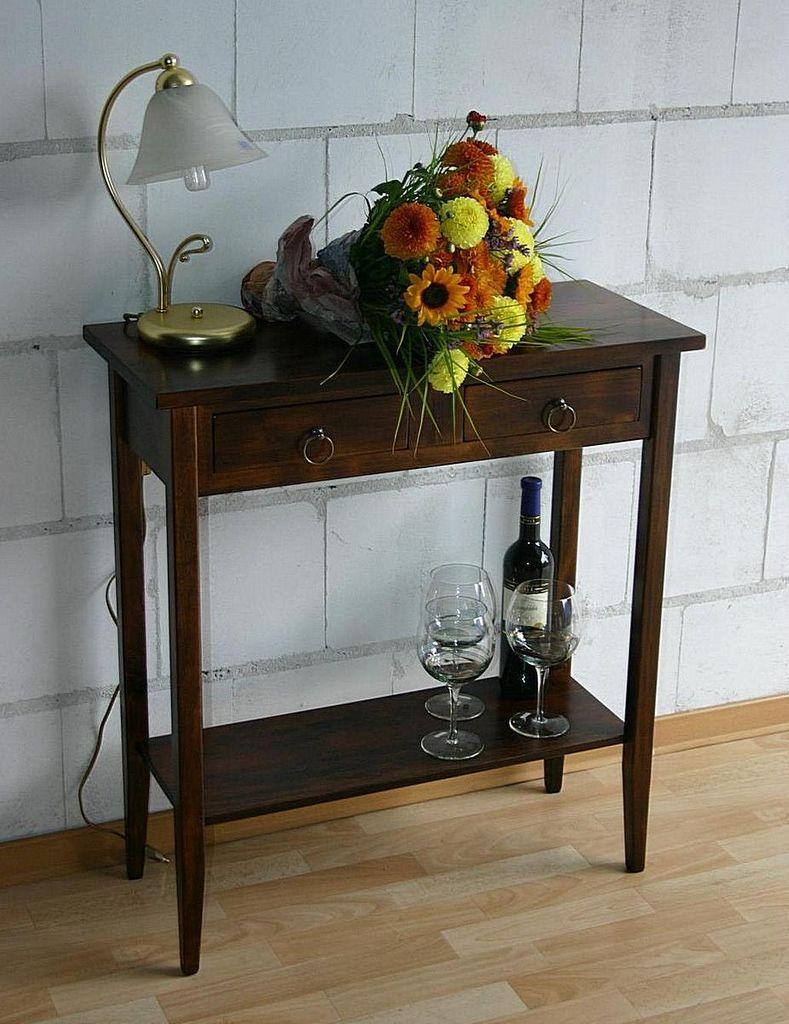 Konsolentisch Wandtisch Beistelltisch Telefontisch Vollholz massiv braun nussbaum Farbe – Bild 2