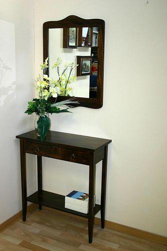 Konsolentisch Wandtisch Beistelltisch Telefontisch Vollholz massiv braun nussbaum Farbe – Bild 7