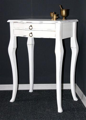 Beistelltisch weiß antik Konsolentisch Wandtisch Vollholz massiv – Bild 1