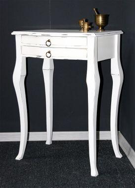Beistelltisch weiß antik Konsolentisch Wandtisch Vollholz massiv 001