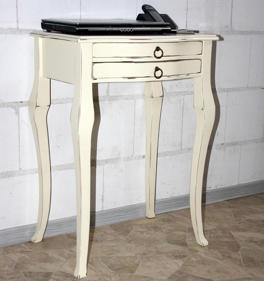 Beistelltisch cremefarben antik Konsolentisch elfenbeinfarben Wandtisch cremeweiß Pappel massiv – Bild 1