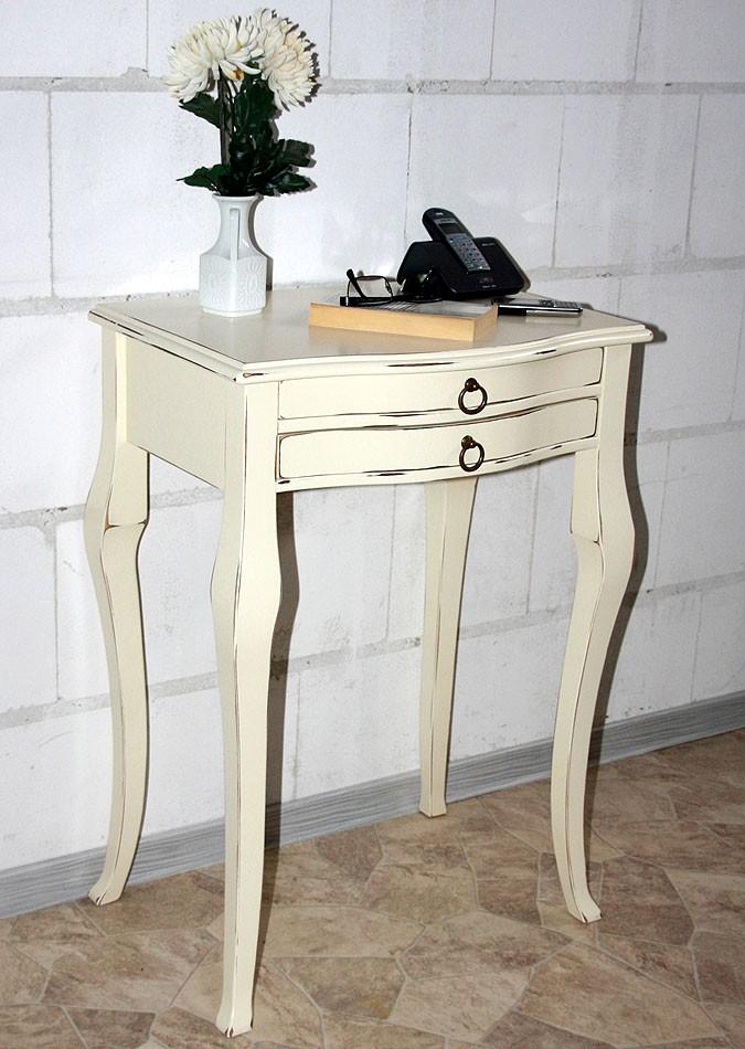 Beistelltisch cremefarben antik Konsolentisch elfenbeinfarben Wandtisch cremeweiß Pappel massiv – Bild 6