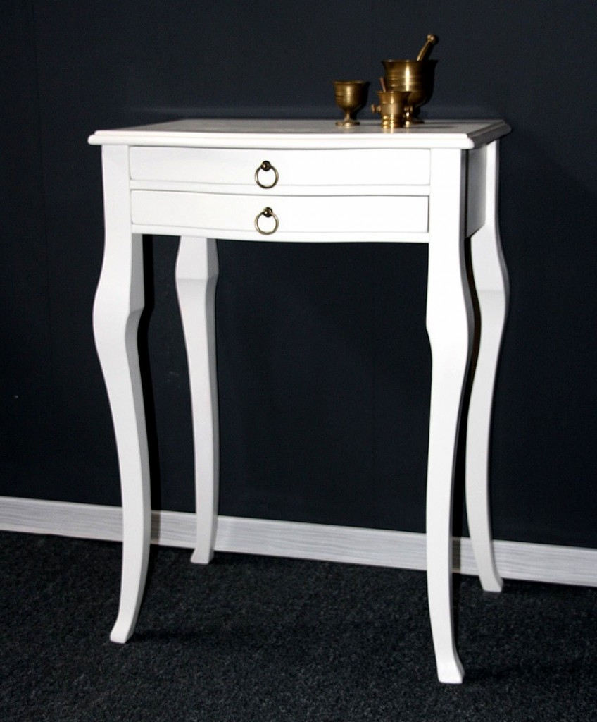 Beistelltisch weiß Konsolentisch Wandtisch Vollholz massiv – Bild 1