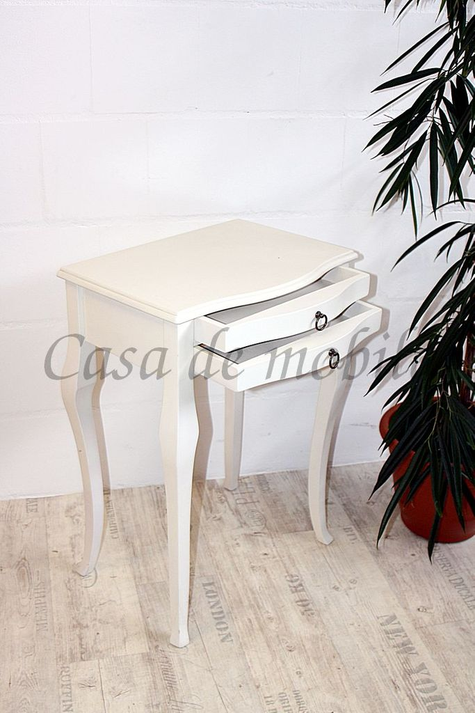 Beistelltisch weiß Konsolentisch Wandtisch Vollholz massiv – Bild 3