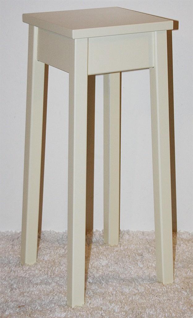 Blumentisch 60cm Beistelltisch creme quadratisch Pappel massiv – Bild 2