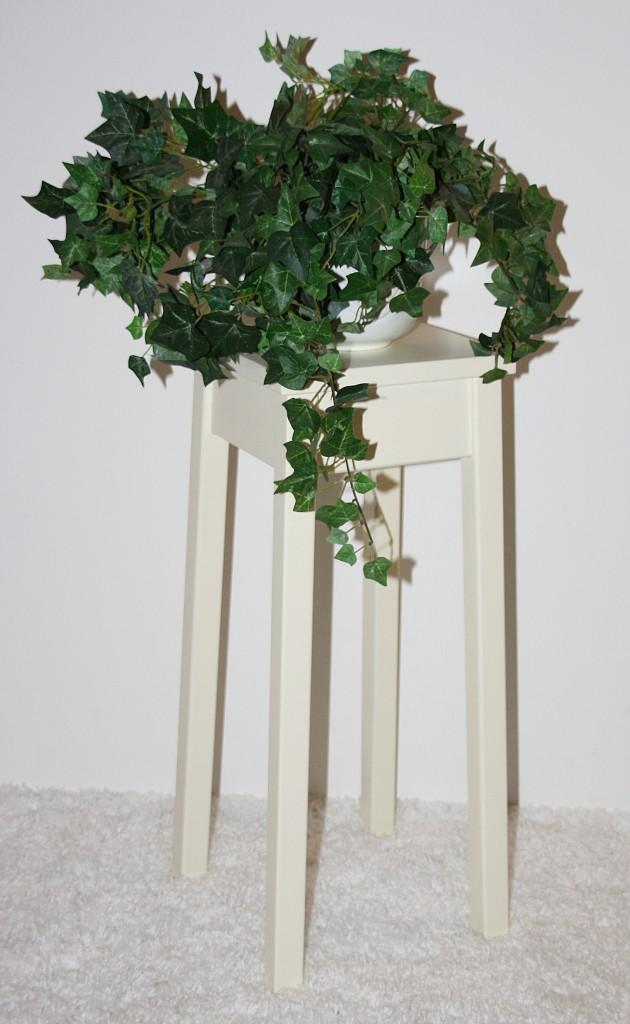 Blumentisch 60cm Beistelltisch creme quadratisch Pappel massiv – Bild 1