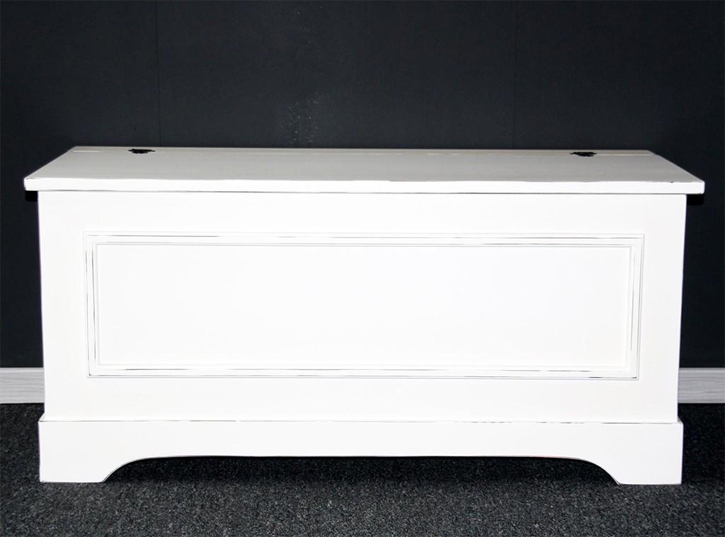 Truhe Holztruhe Sitztruhe 39x84 Holz massiv weiß Vintage Shabby Chic – Bild 1