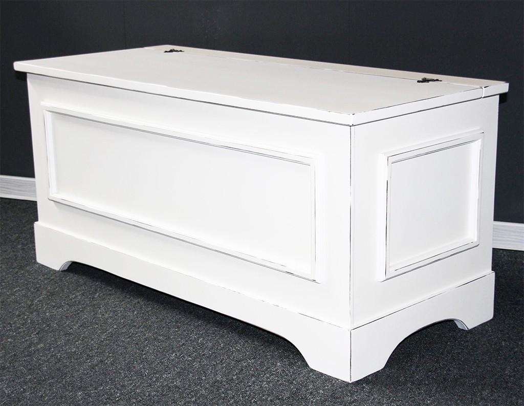 truhe 84x39x35cm pappel massiv wei antik lackiert. Black Bedroom Furniture Sets. Home Design Ideas