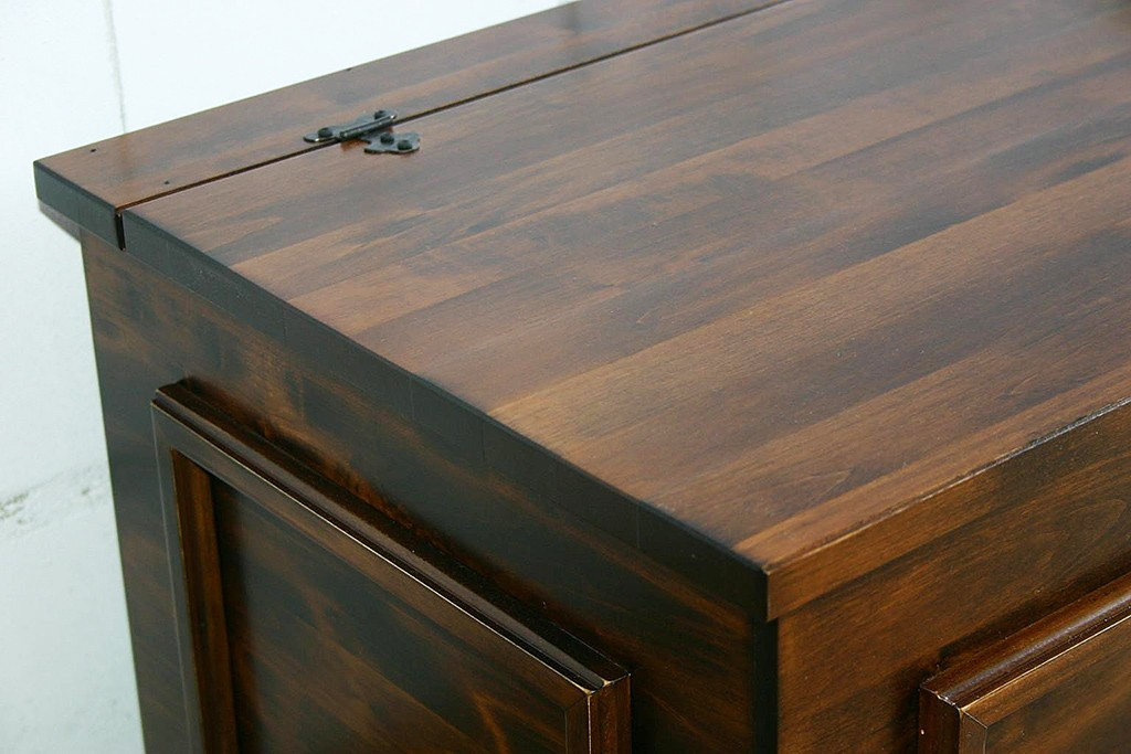 Truhe Vollholztruhe Wäschetruhe Sitztruhe 98x44cm Vollholz massiv braun nussbaum Farbe – Bild 5