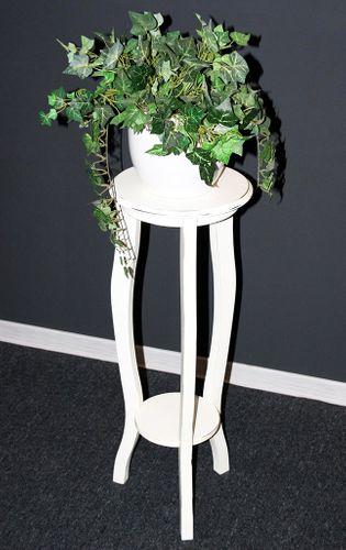 Blumentisch Blumenhocker rund 80 - Holz massiv weiß shabby – Bild 6
