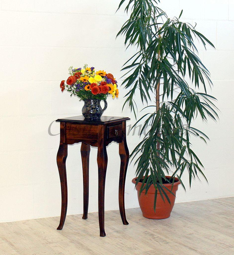 Wandtisch nussbaumfarben Telefontisch dunkelbraun Beistelltisch 80x39 massiv braun – Bild 1