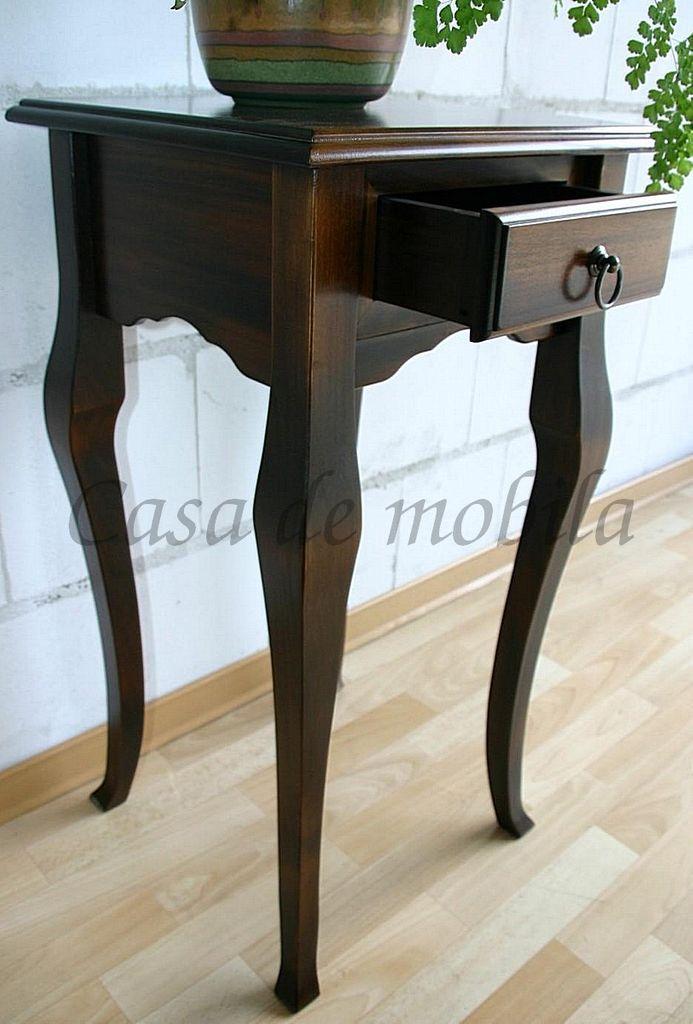 Massivholz Konsolentisch Telefontisch Wandkonsole halbrund braun kolonial