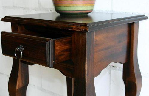Wandtisch Telefontisch nussbaum Farbe Beistelltisch 80x39 Vollholz massiv braun – Bild 3
