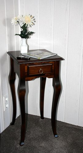 Wandtisch nussbaumfarben Telefontisch dunkelbraun Beistelltisch 80x39 massiv braun – Bild 11