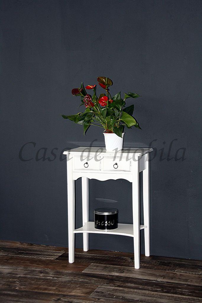Massivholz Wandtisch Beistelltisch Telefontisch Shabby Chic weiß – Bild 9