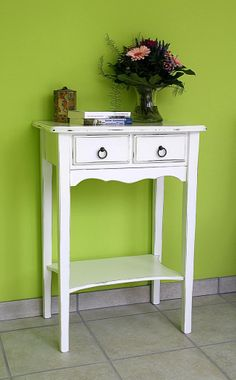 Konsolentisch weiß antik Wandtisch Beistelltisch Vollholz massiv Vintage 001