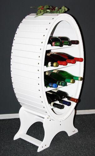 Massivholz Weinregal Flaschenregal Weinfass 14 Flaschen Holz Fichte massiv weiß