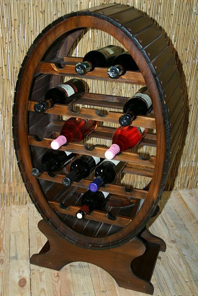 Weinregal Flaschenregal Weinfass 19 Flaschen Vollholz Fichte massiv braun nussbaum Farbe – Bild 2