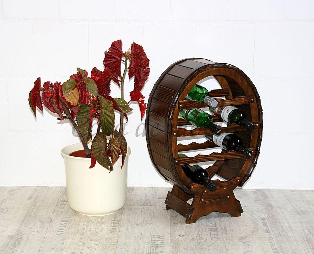 Weinregal Flaschenregal für 12 Flaschen Massivholz nussbaum-braun – Bild 2