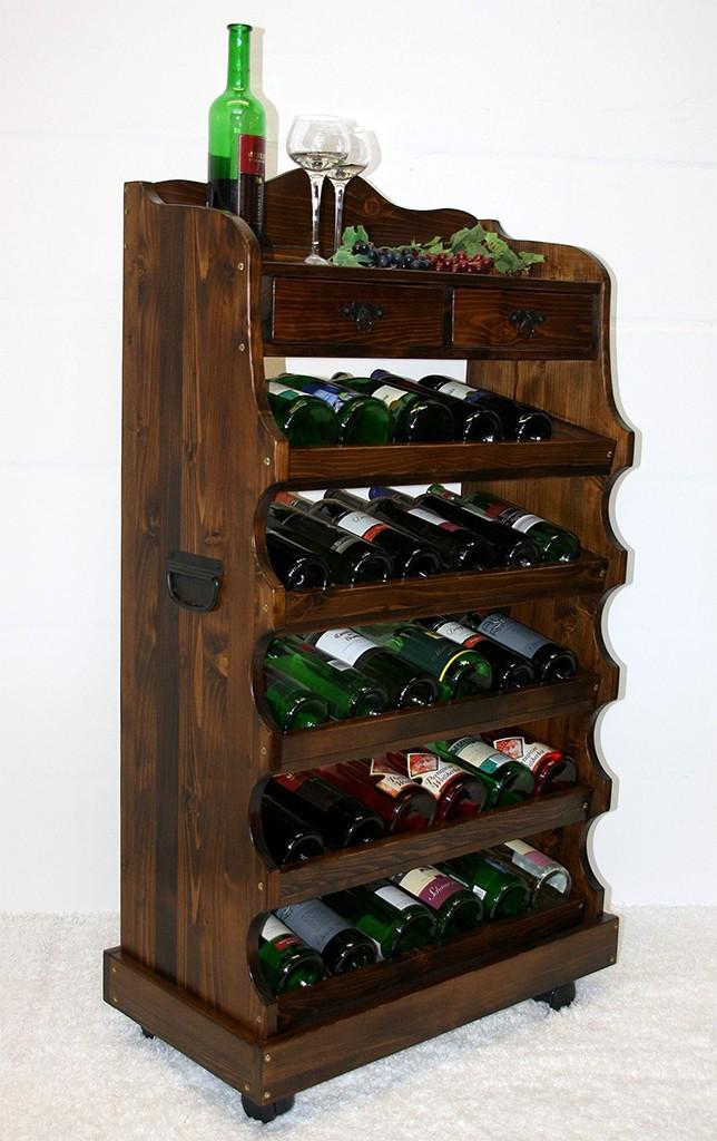 Weinregal Flaschenregal 30 Flaschen Vollholz Fichte massiv braun nussbaum Farbe – Bild 2