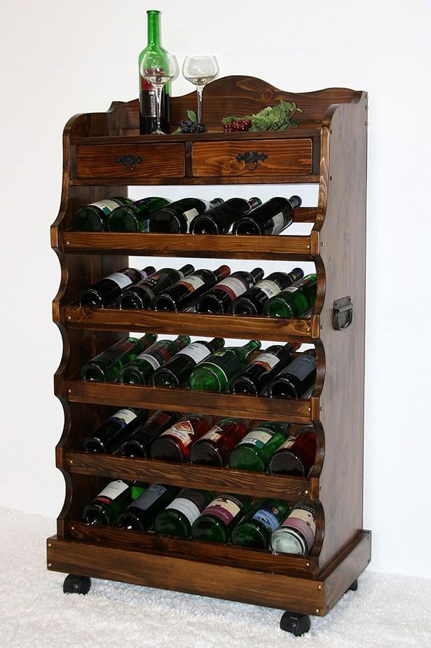 Weinregal Flaschenregal 30 Flaschen Vollholz Fichte massiv braun nussbaum Farbe – Bild 1