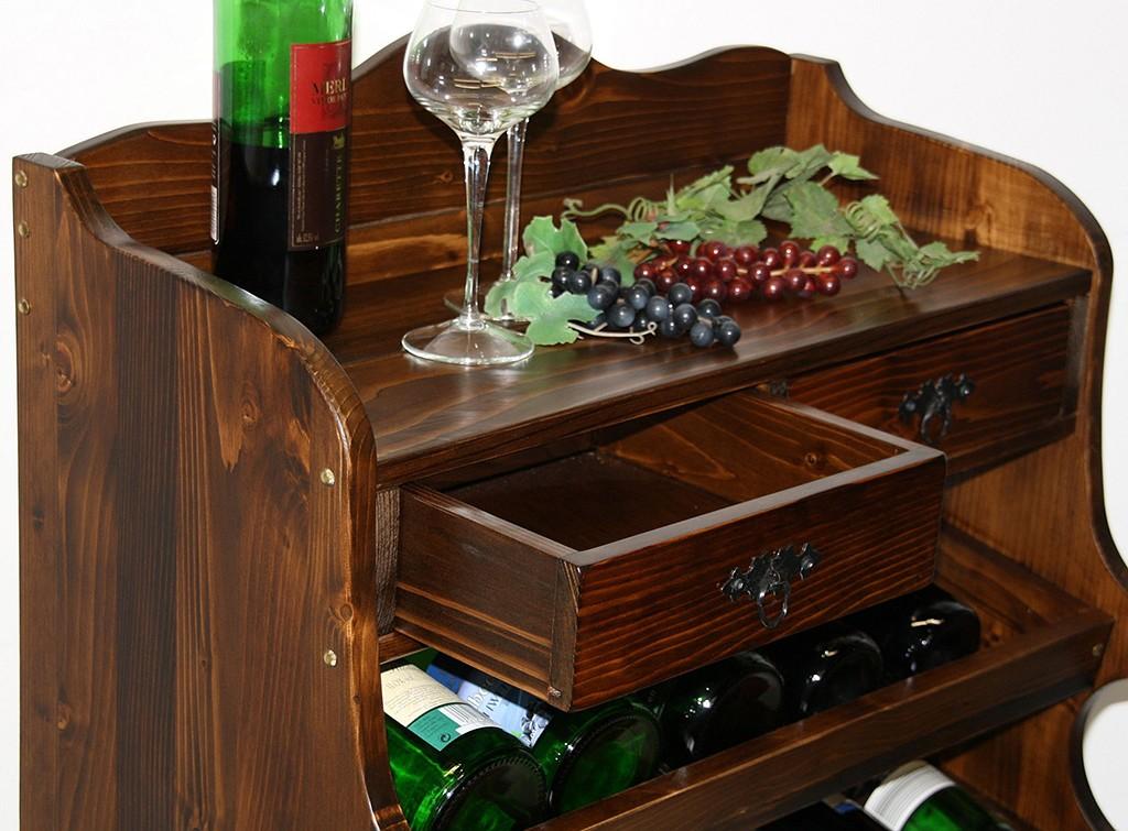 Weinregal Flaschenregal 30 Flaschen Vollholz Fichte massiv braun nussbaum Farbe – Bild 4
