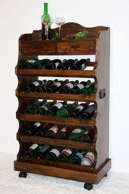 Weinregal Flaschenregal 30 Flaschen Vollholz Fichte massiv braun nussbaum Farbe 001