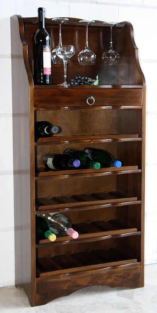 Weinregal Flaschenregal 25 Flaschen Vollholz Pappel braun nussbaum Farbe – Bild 1