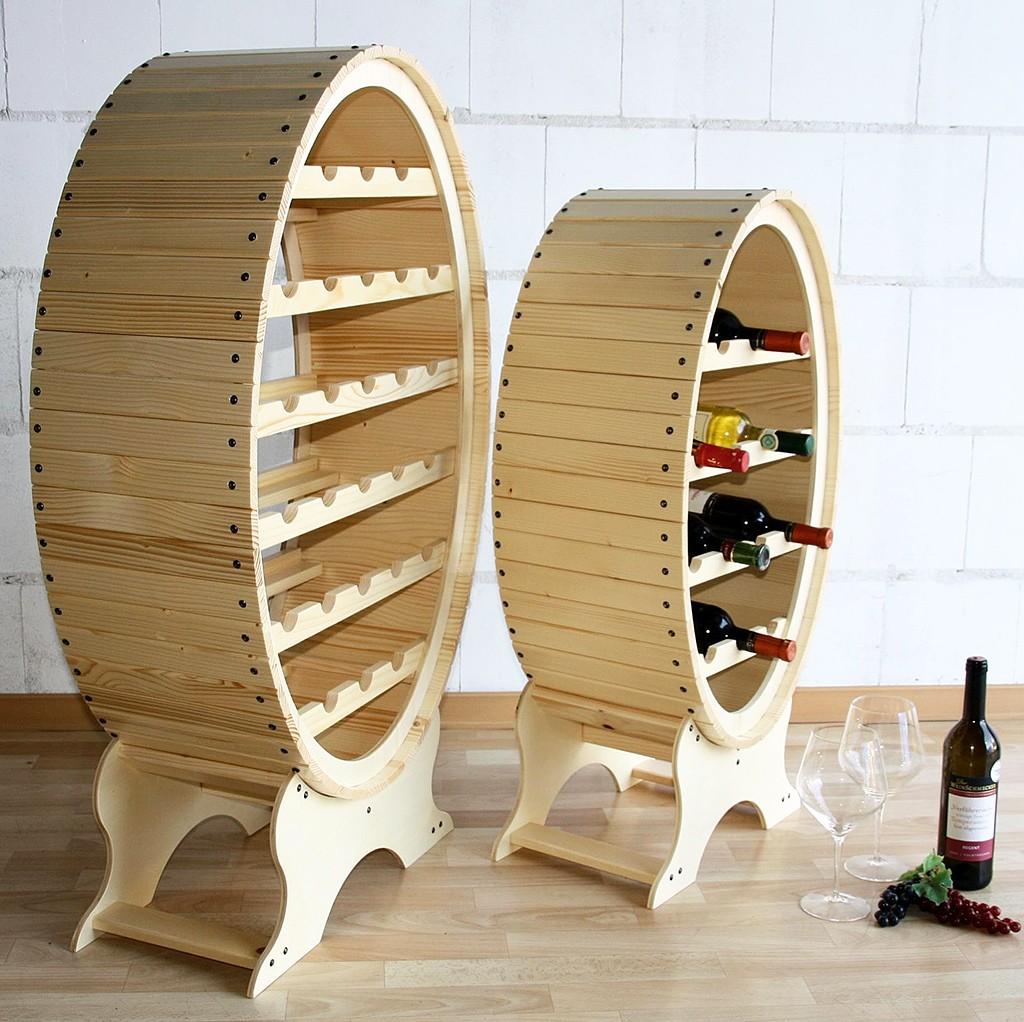 Weinregal Flaschenregal Weinfass 26 Flaschen Holz Fichte massiv natur – Bild 3