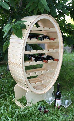 Weinregal Flaschenregal Weinfass 26 Flaschen Holz Fichte massiv natur – Bild 1