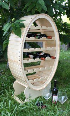 Weinregal Flaschenregal Weinfass 26 Flaschen Holz Fichte massiv natur 001