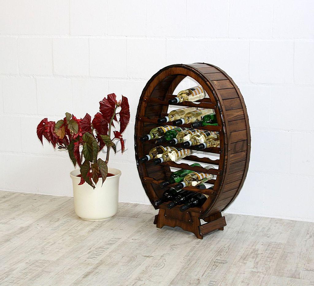 Weinregal Flaschenregal Weinfass 24 Flaschen Vollholz Fichte massiv braun nussbaum Farbe – Bild 1