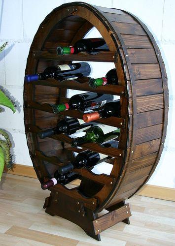 Weinregal Flaschenregal Weinfass 24 Flaschen Vollholz Fichte massiv braun nussbaum Farbe – Bild 2