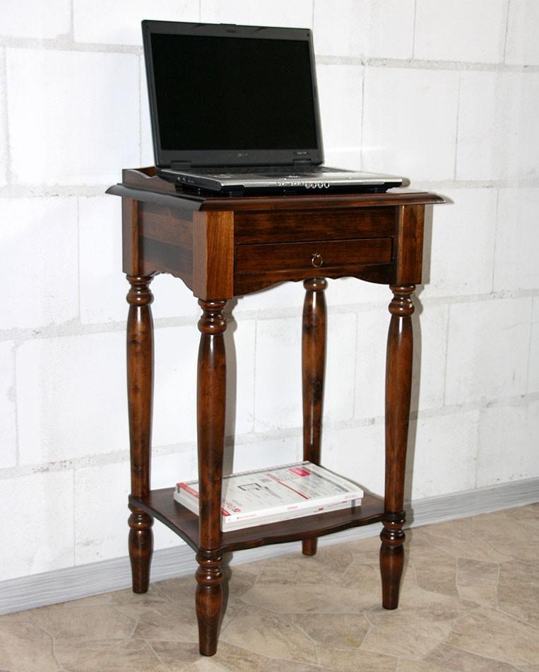 Konsolentisch Telefontisch Beistelltisch Vollholz massiv braun kirschbaum Farbe – Bild 4