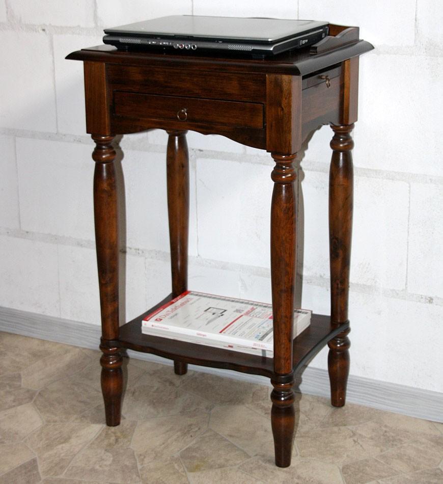 Konsolentisch Telefontisch Beistelltisch Vollholz massiv braun kirschbaum Farbe – Bild 6