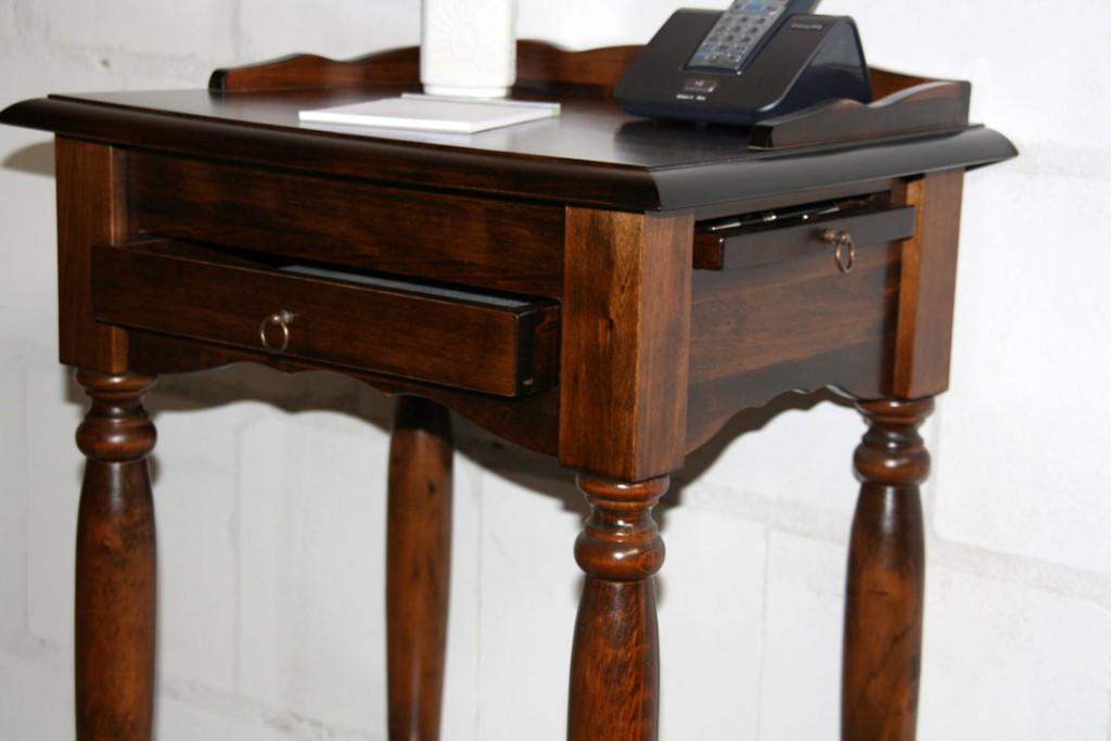 Konsolentisch Telefontisch Beistelltisch Vollholz massiv braun kirschbaum Farbe – Bild 7
