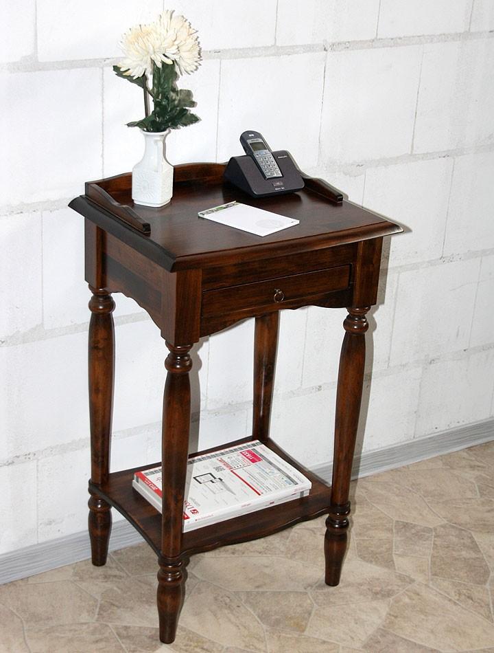 Konsolentisch Telefontisch Beistelltisch Vollholz massiv braun kirschbaum Farbe – Bild 9