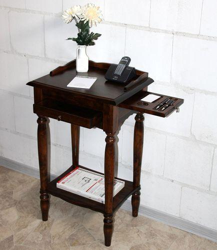 Konsolentisch Telefontisch Beistelltisch Pappel Vollholz massiv braun nussbaum Farbe