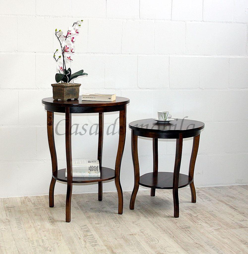 Tisch Beistelltisch nussbaum Teetisch oval 57 Vollholz massiv braun Farbe – Bild 4