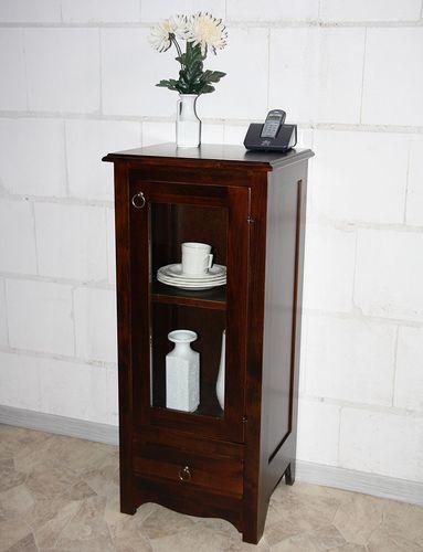 Vitrine Standvitrine Vitrinenschrank Holz massiv braun nussbaumfarben – Bild 7